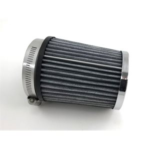 "Air filter, 3-1 / 2"" x 4"" (2-7 / 16 ID) tapered chrome"